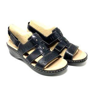 Clarks Lexi Qwin Black Leather Sandal size 9.5M
